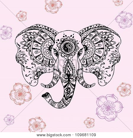 abstract elephant in Indian style mehndi