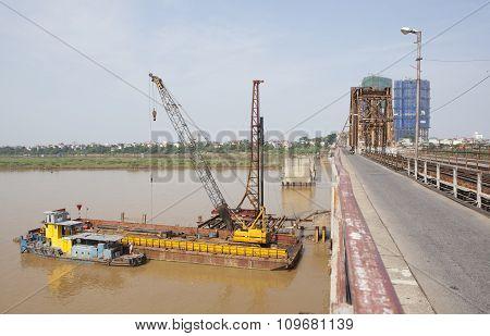 Construction site under Long Bien bridge