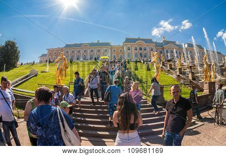 Unidentified People Near The Grand Cascade In Peterhof Palace (petrodvorets)