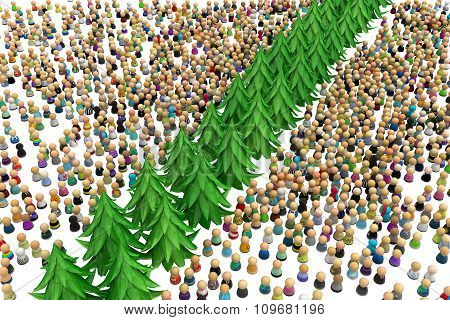 Cartoon Crowd, Tree Divide