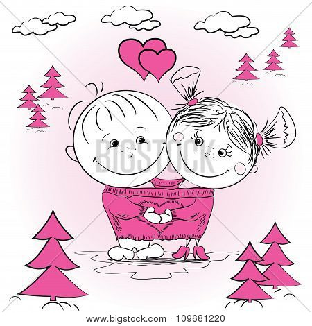 illustration of a man and woman in love in one big jumper