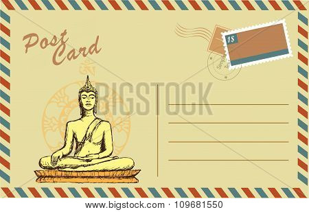 Vintage postcard with Buddha in meditation