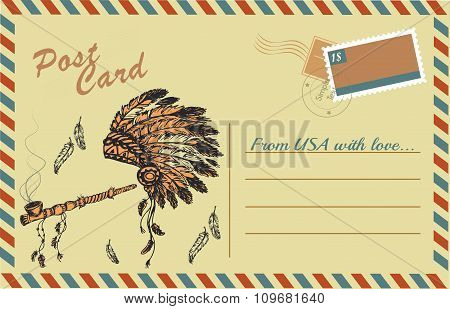 Vintage postcard with traditional Native American Peace Pipe and