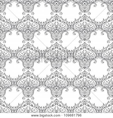 Seamless pattern with ornamental flowers.
