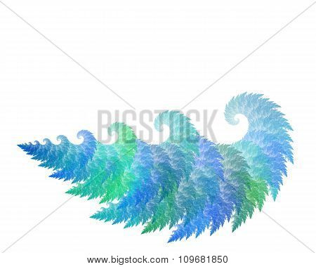 Abstract Fractal Object With Waves Or Tree Texture, Isolated On White Background