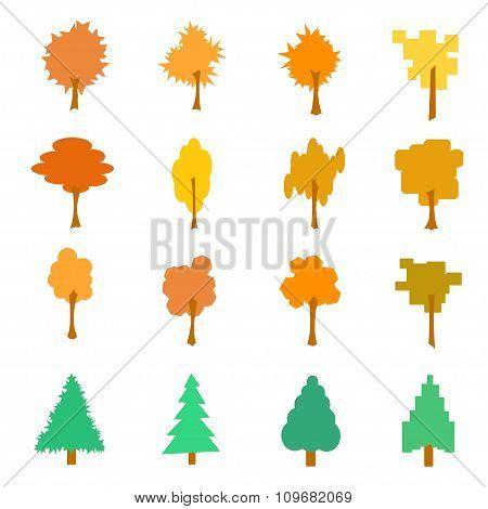 Set Of Stylized Flat Autumn Tree Icons, Vector Illustration, Isolated On White Background