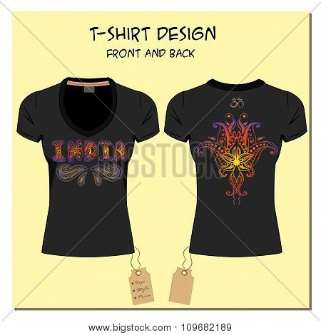 black design T-shirts  with a picture paisley ornament