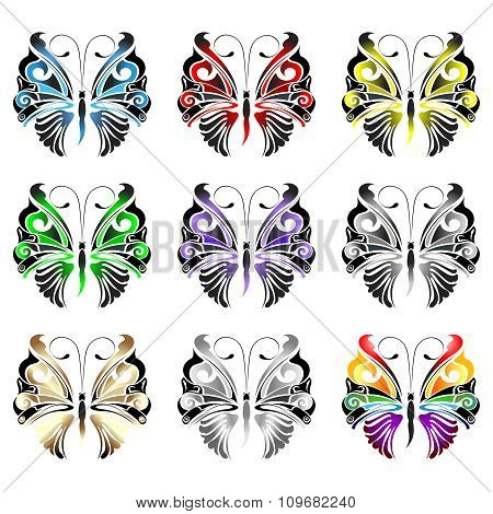 Vector butterfly in collection of colors
