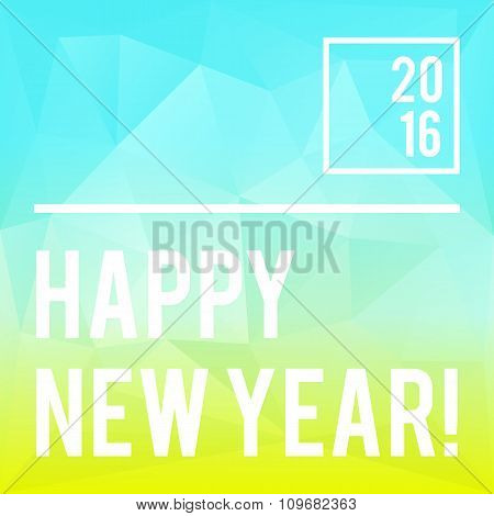 Square New Year design with polygonal background
