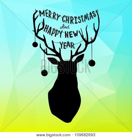 Square New Year design with gradient background and Christmas deer