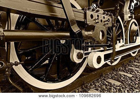 Sepia Detail And Close Up Of Huge Wheels At One Old Steam Locomotive 3