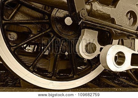 Sepia Detail And Close Up Of Huge Wheels At One Old Steam Locomotive 1