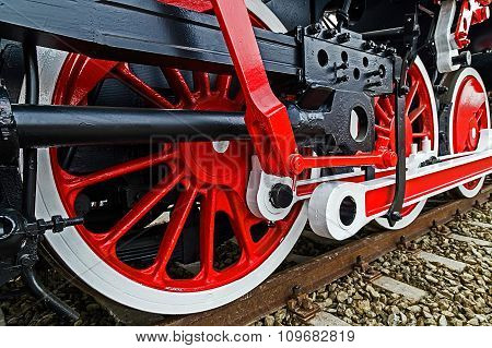 Detail And Close Up Of Huge Wheels At One Old German Steam Locomotive 3