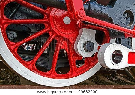 Detail And Close Up Of Huge Wheels At One Old German Steam Locomotive 1