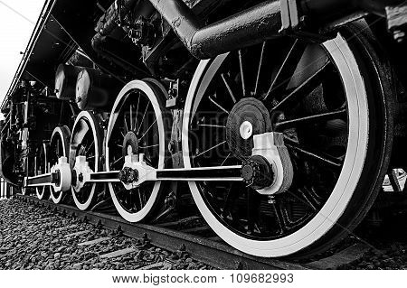 Black And White Detail And Close Up Of Huge Wheels At One Old Steam Locomotive 2
