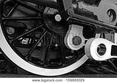 Black And White Detail And Close Up Of Huge Wheels At One Old Steam Locomotive 1