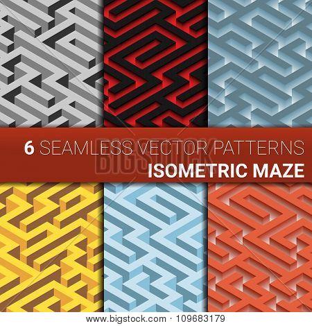 Set of six variants of maze,  labyrinth - endless