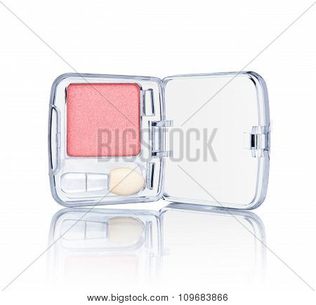Pink Eyeshadow In A Transparent Package With Reflection On An Isolated White Background