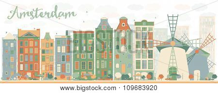 Abstract Amsterdam city skyline with color buildings. Vector illustration. Business travel and tourism concept with historic buildings. Image for presentation, banner, placard and web site.