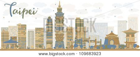 Abstract Taipei skyline with color landmarks. Vector illustration. Business travel and tourism concept with modern buildings. Image for presentation, banner, placard and web site.