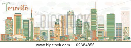 Abstract Toronto skyline with color buildings. Vector illustration. Business travel and tourism concept with modern buildings. Image for presentation, banner, placard and web site.