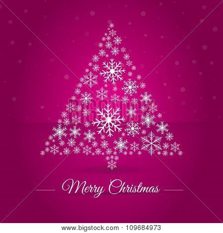 Christmas Tree Made Osnowflakes. Eps 10. Vector Illustration. Merry Christmas 2016.
