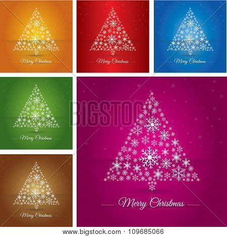 Collection Christmas Tree Made Osnowflakes. Eps 10. Vector Illustration. Merry Christmas 2016.
