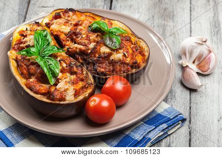 Baked Eggplant With Pieces Of Chicken