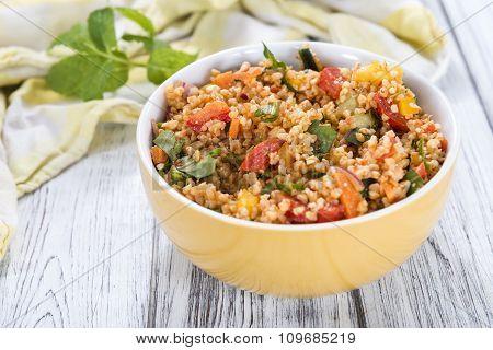 Bowl With Homemade Bulgur Salad