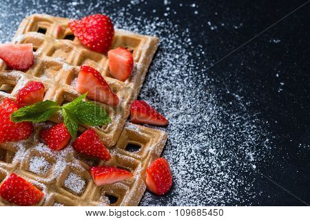 Homemade Waffles With Fresh Strawberries