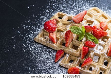 Waffles With Some Fresh Strawberries