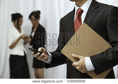 businessman using his cellphone
