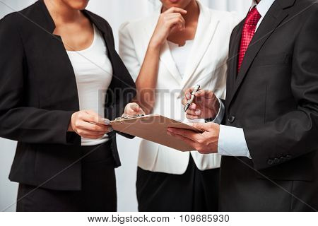 business people discussing work