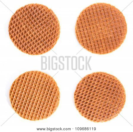 Waffles Filled With Honey (isolated On White)