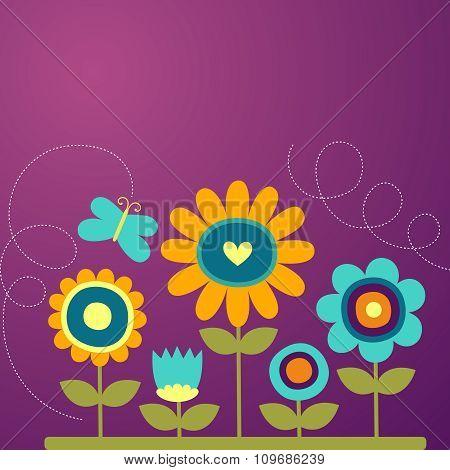 Vector Cartoon Flower background