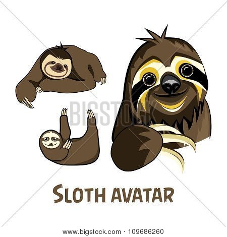 Vector Cartoon Sloth