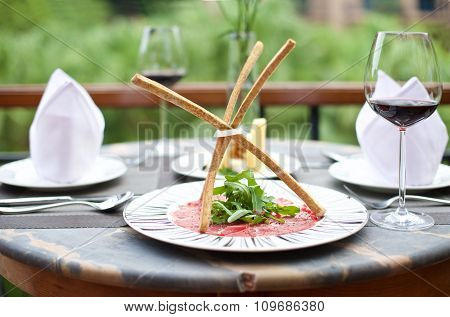 Gourmet Appetizers With Glass Of Wine