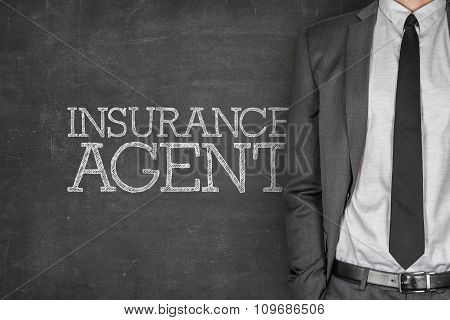 Insurance agent on blackboard