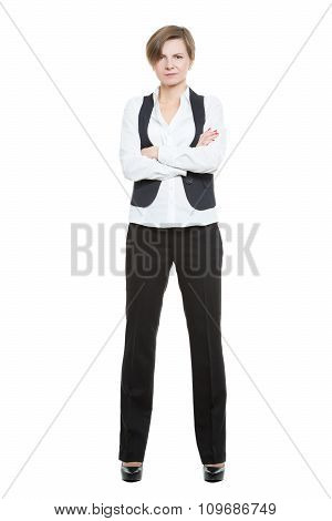 Portrait in full growth. Businesswoman legs wide apart. isolated white background. closed pose, arms
