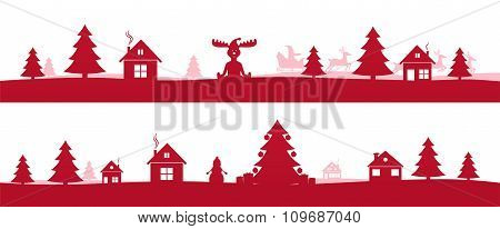 Winter Red Holidays Landscape With Christmas Trees. Santa Sleigh Reindeer Flying, Year Tree With Chr