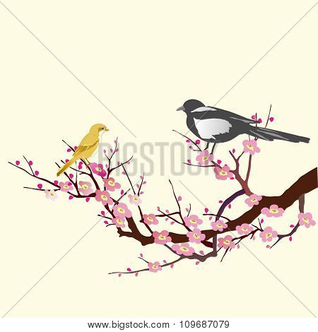 Vector Bird on tree branch