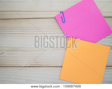 Sticky Note And Paper Clip
