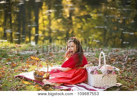 Little Girl On Picnic