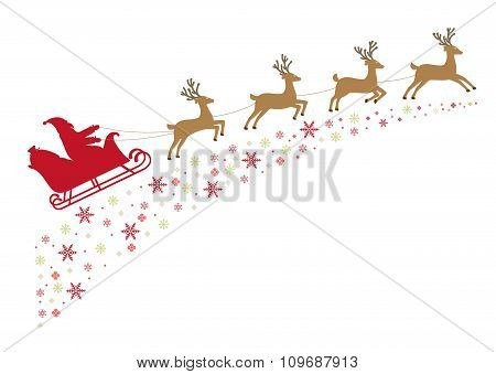 Santa On A Sleigh With Reindeer In Harness Flies Along Snowy Stars.