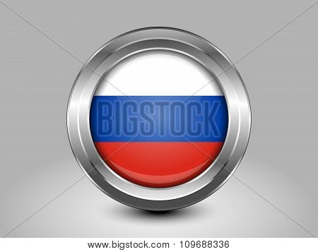 Flag Of Russia. Metal Round Icon