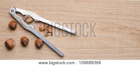 hazelnut on wood