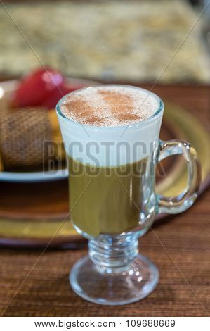 Cappacinno In Glass Mug