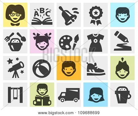 kindergarten, school set black icons. signs and symbols