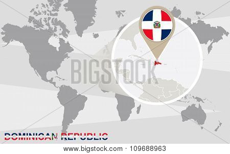 World Map With Magnified Dominican Republic
