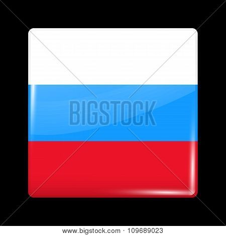 Russia Variant Flag. Glassy Icon Square Shape